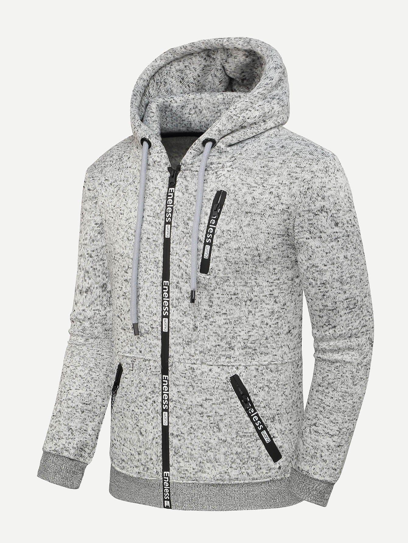 Men Zip Decoration Letter Print Hooded Jacket