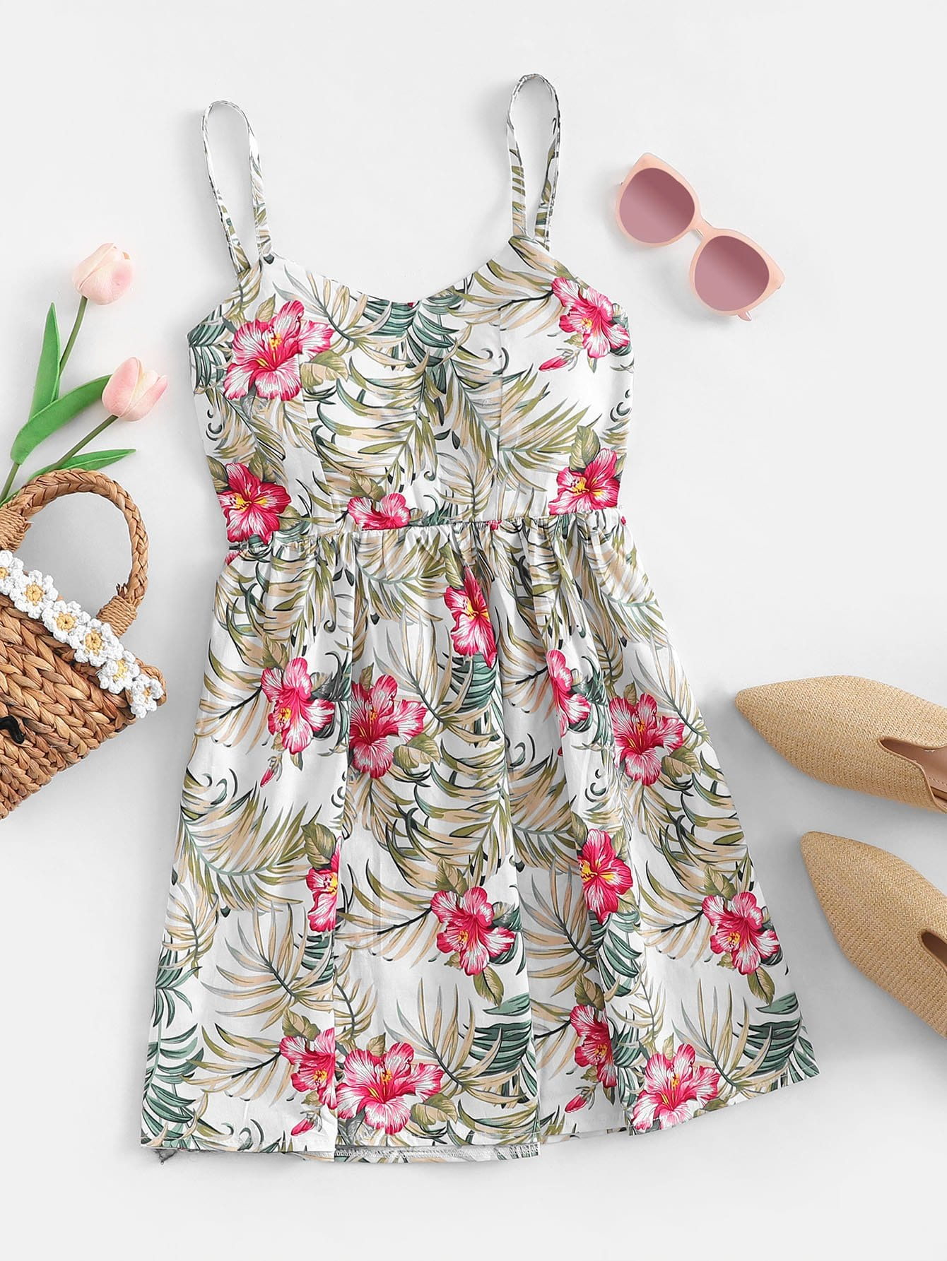 Allover Floral Print Cami Dress