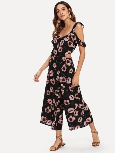 Romwe / Allover Floral Print Jumpsuit
