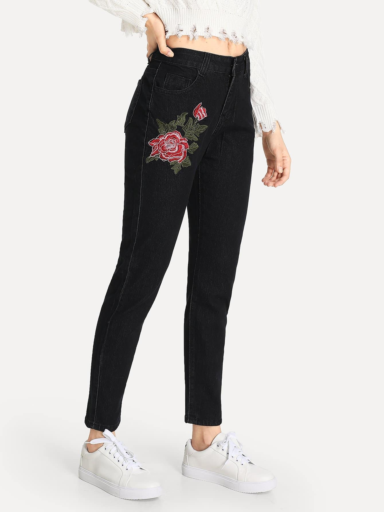 Broderie Rose Jeans