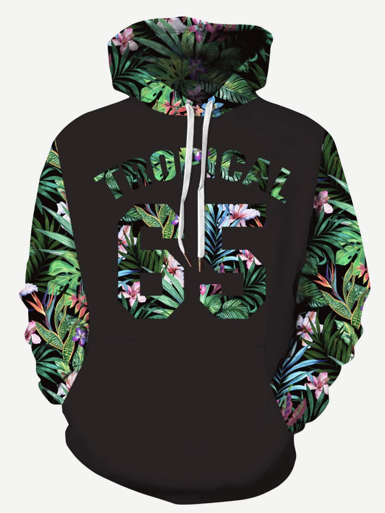Men Plant And Letter Print Hooded Sweatshirt