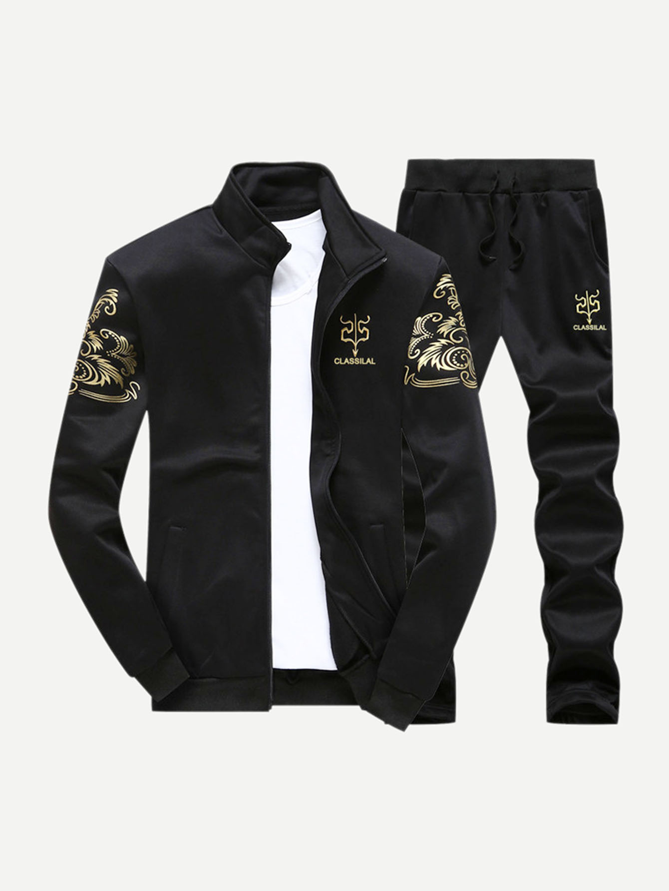 Men Letter Print Jacket With Drawstring Pants
