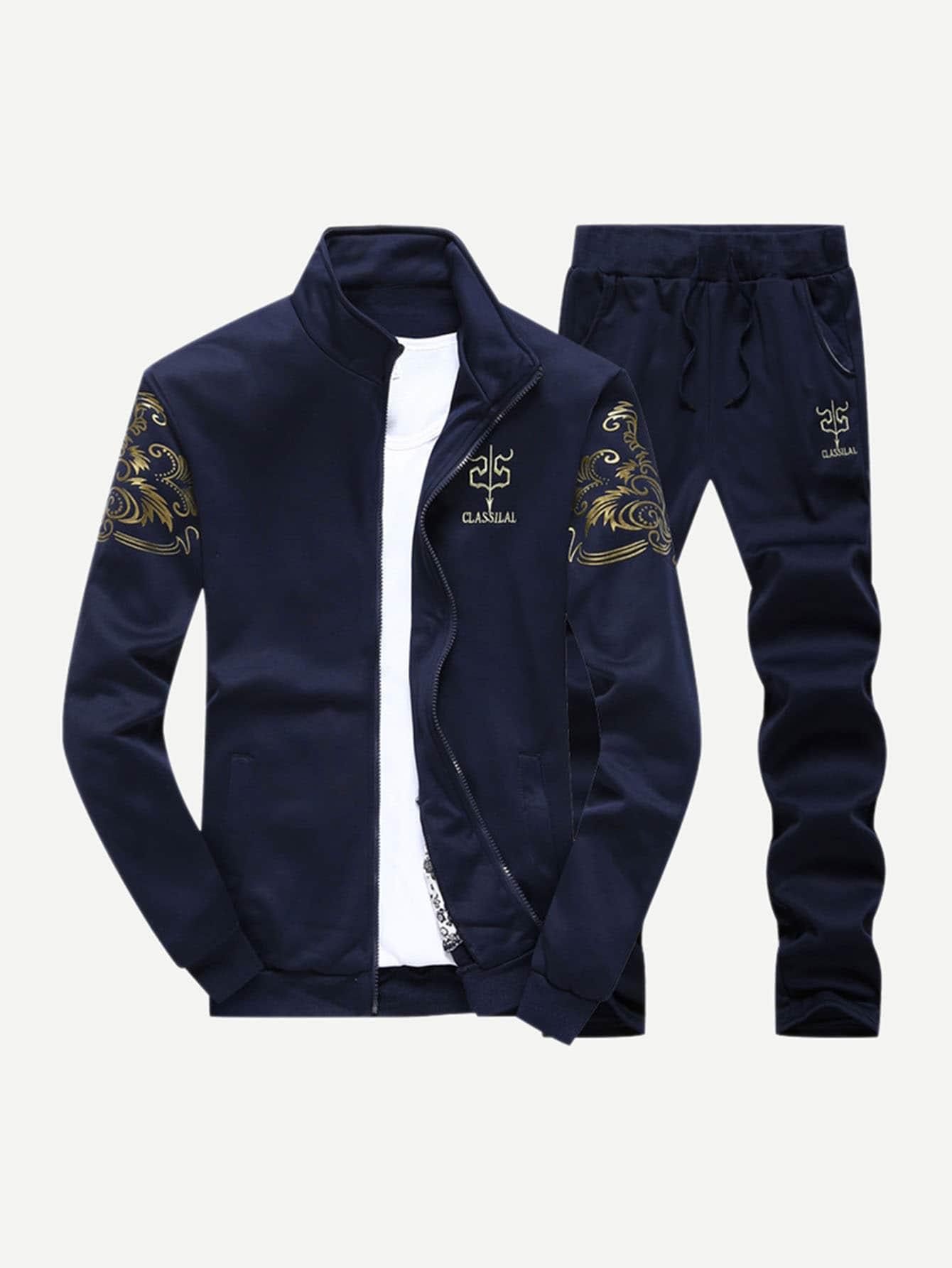 Ветровка с рисунакми буквы и брюки с кулиской для мужчины от SheIn
