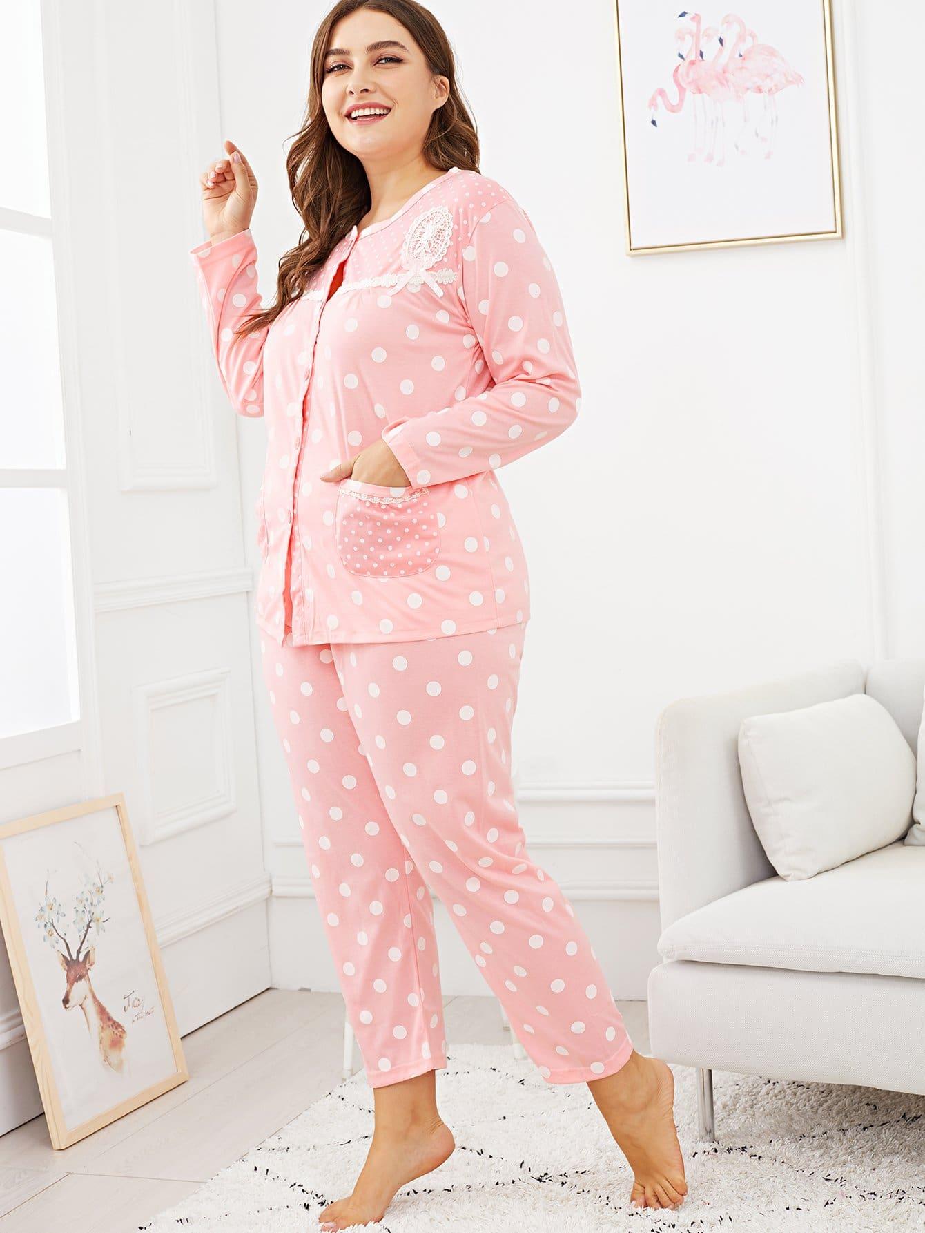 Plus Polka Dot Lace Trim Pajama Set