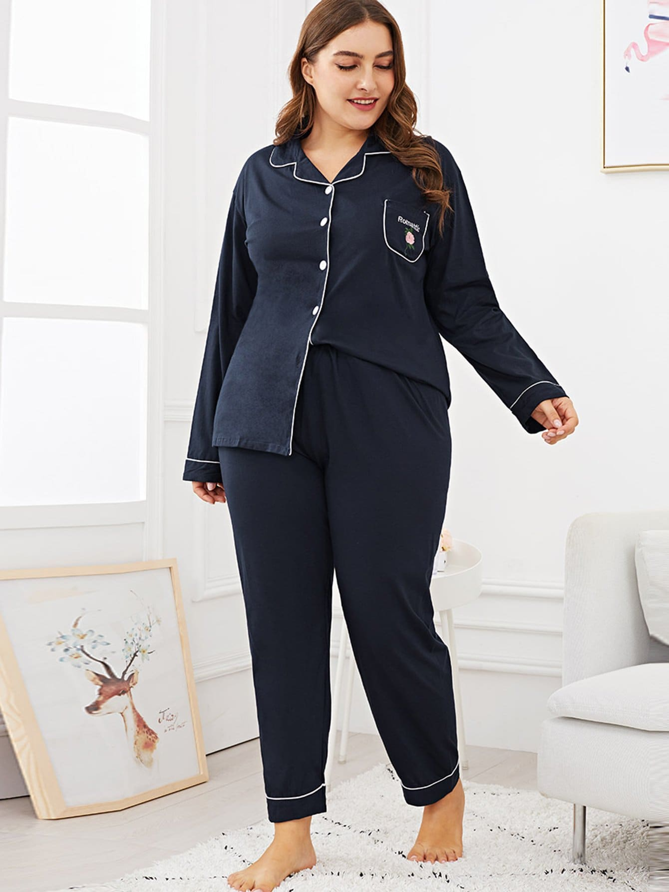 Plus Floral & Letter Embroidered Pajama Set