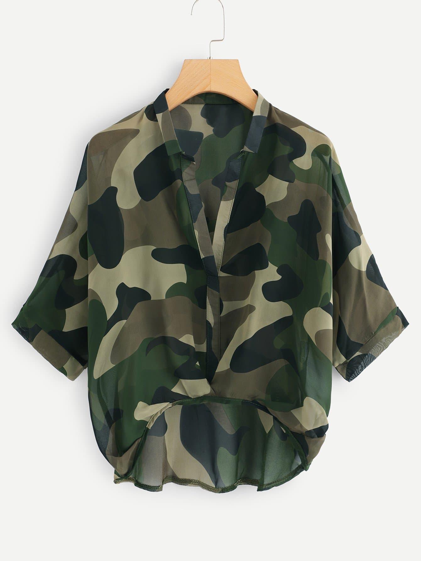 Camouflage Print Dip Hem Blouse