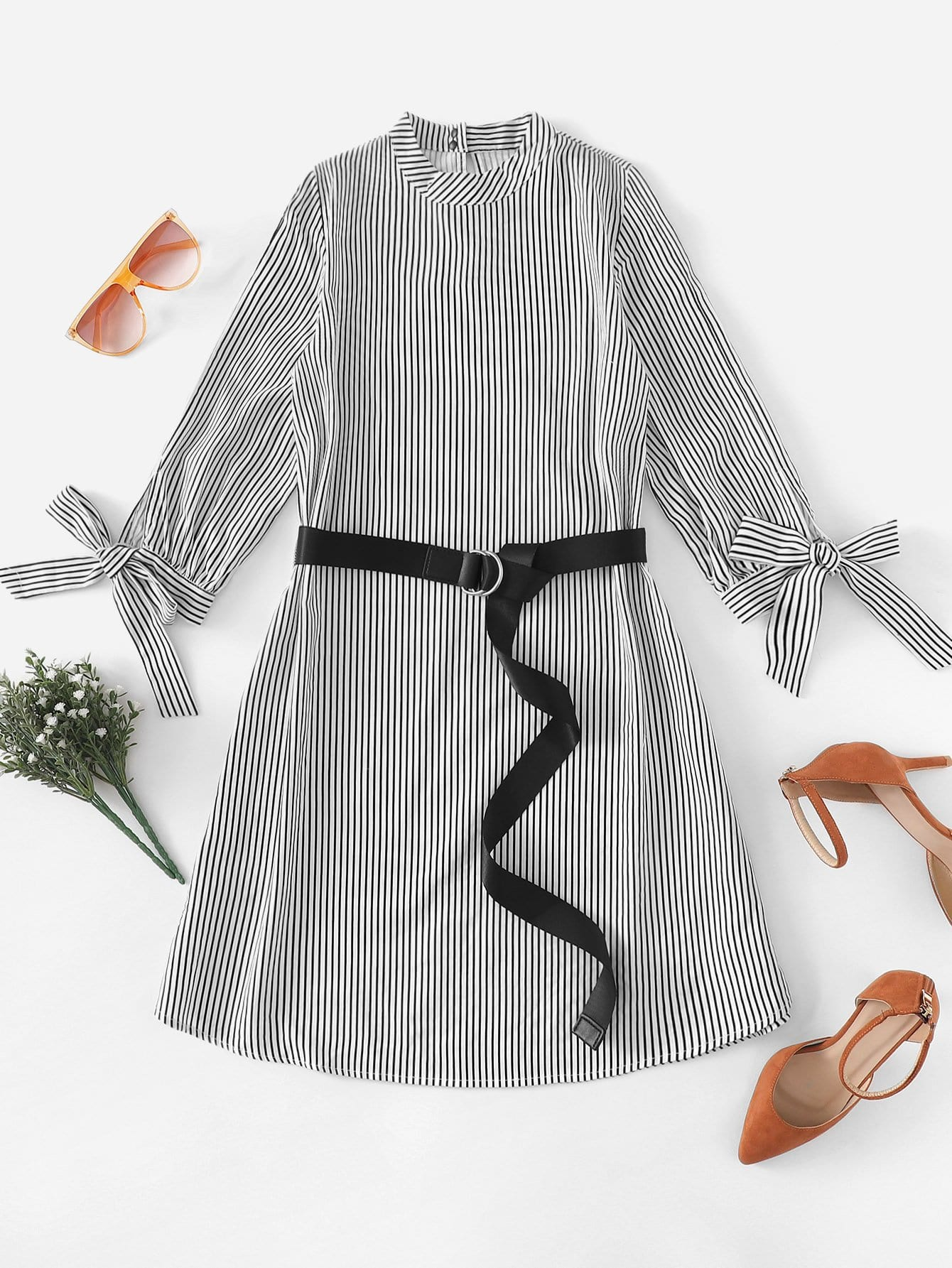 Knot Cuff Striped Belted Dress
