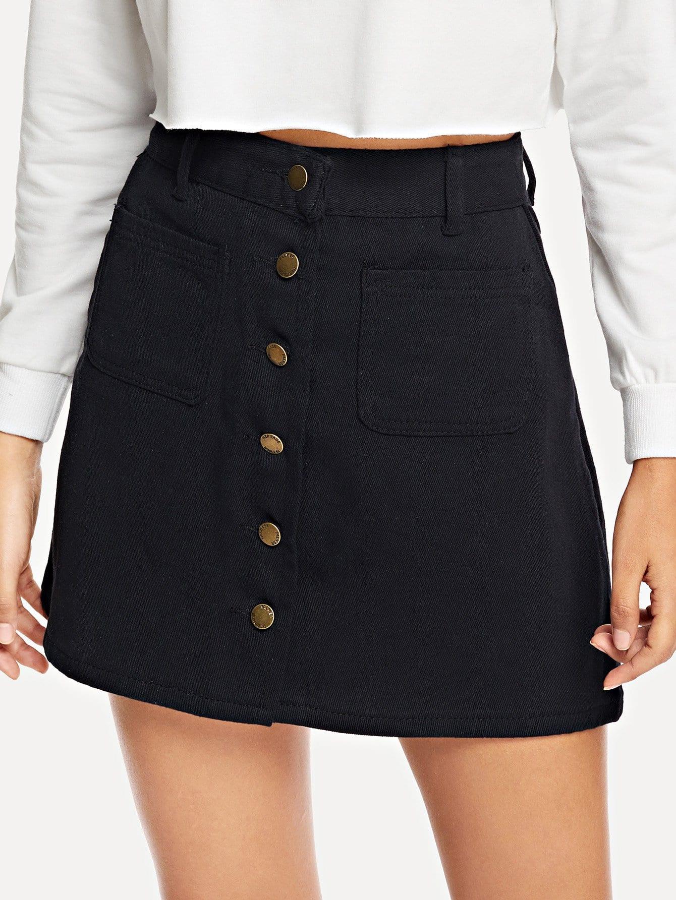 Single Breasted Dual Pocket Skirt