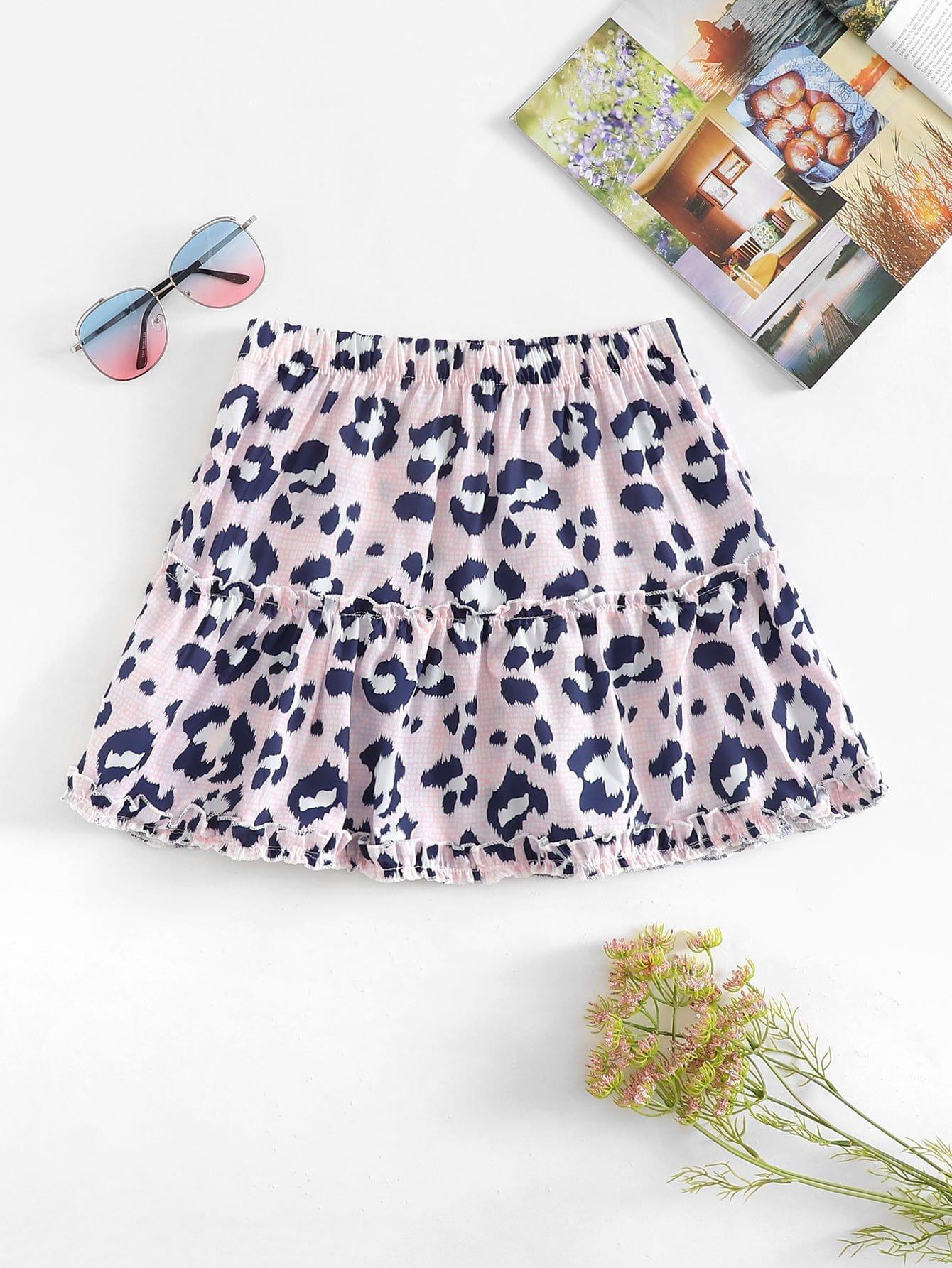 Leopard Frill Trim Skirt