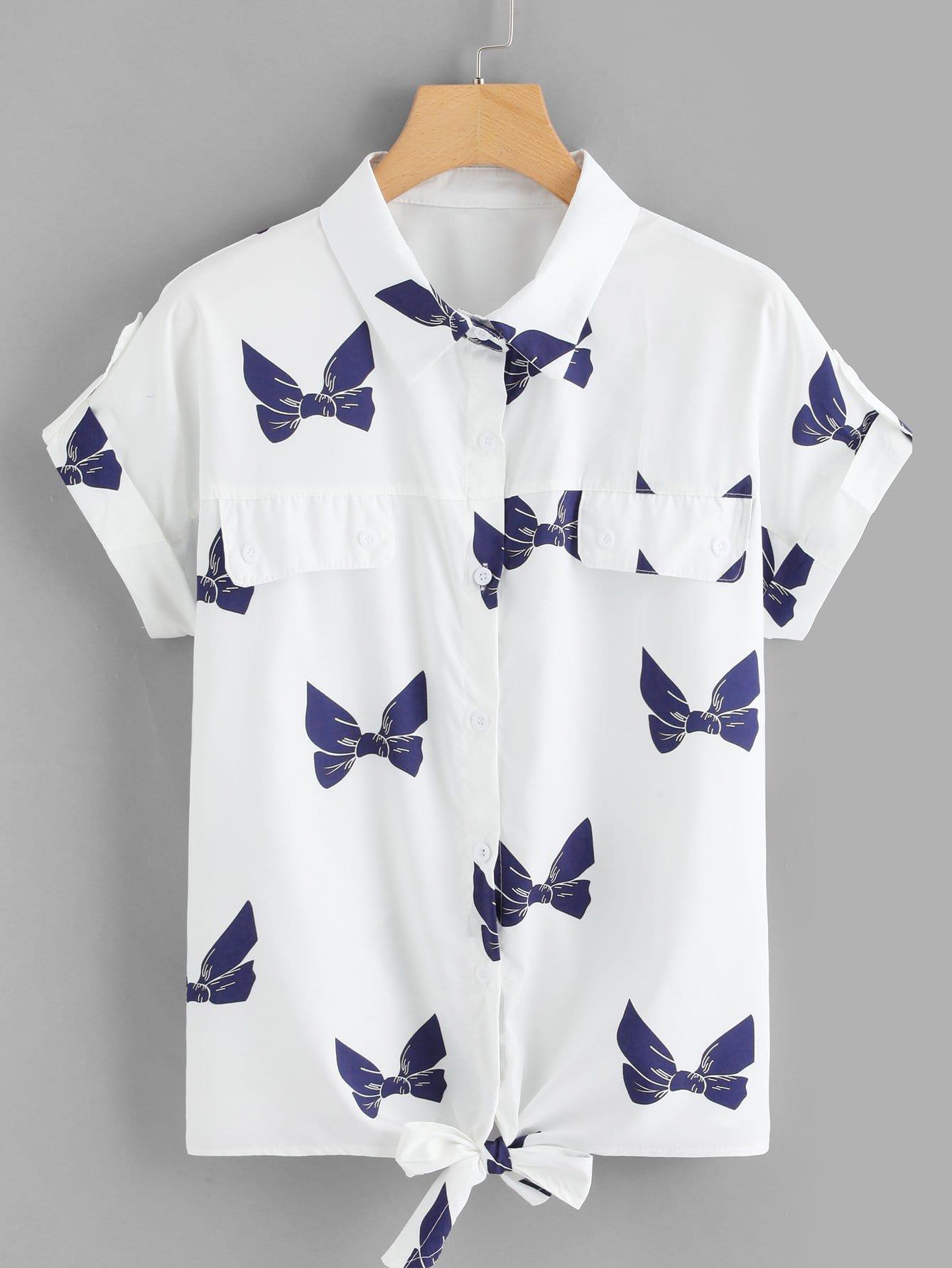 Plus Bow Print Roll Up Sleeve Shirt