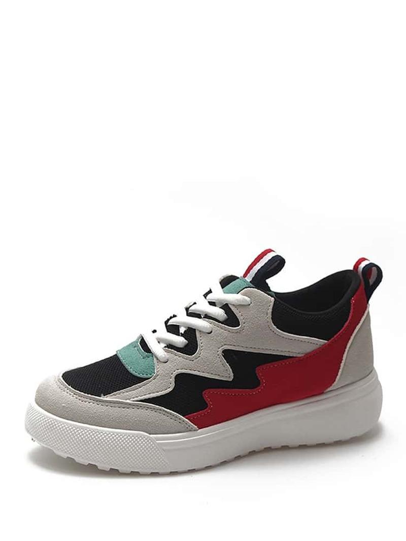 Color Block Lace Up Sneakers, Multicolor
