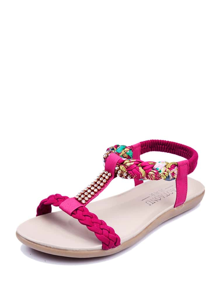 Woven Detail T-strap Sandals