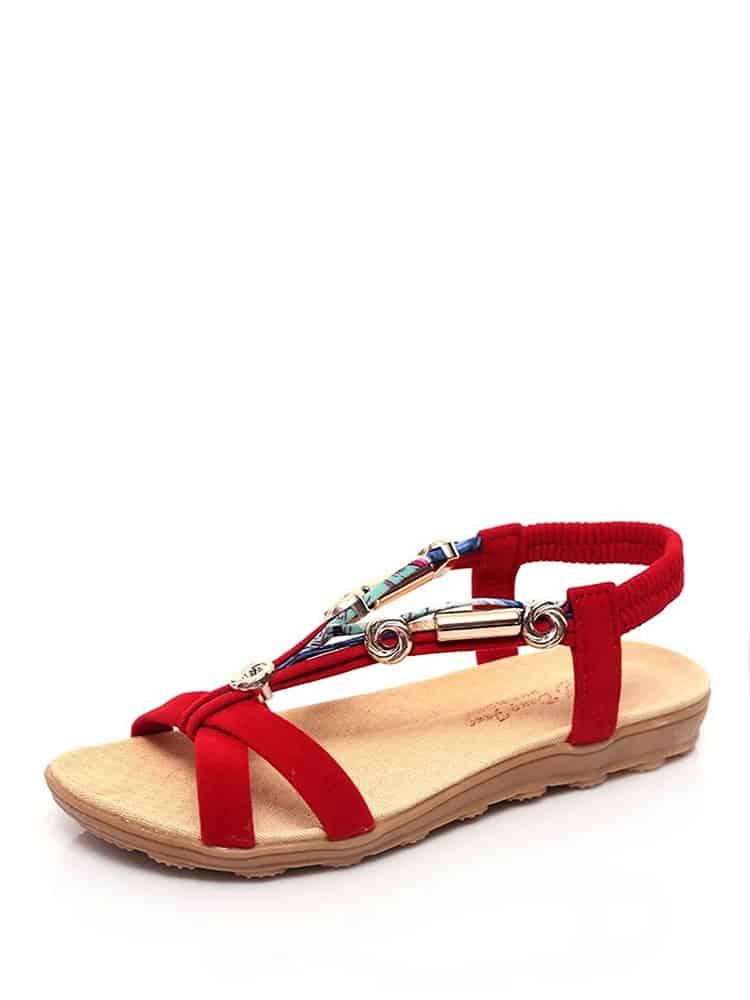 Open Toe Sandales En Cuir Velours