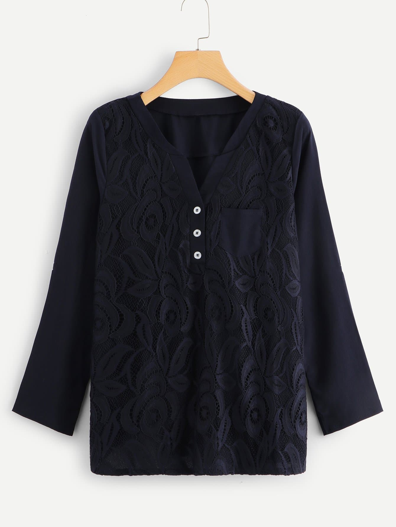 Купить Кружевная блузка с v-образным вырезом, null, SheIn