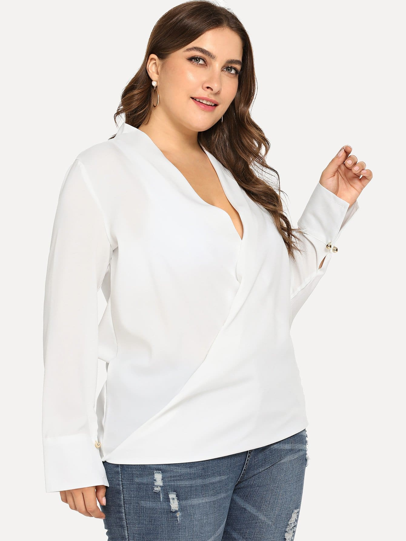 Plus Surplice Front Solid Blouse