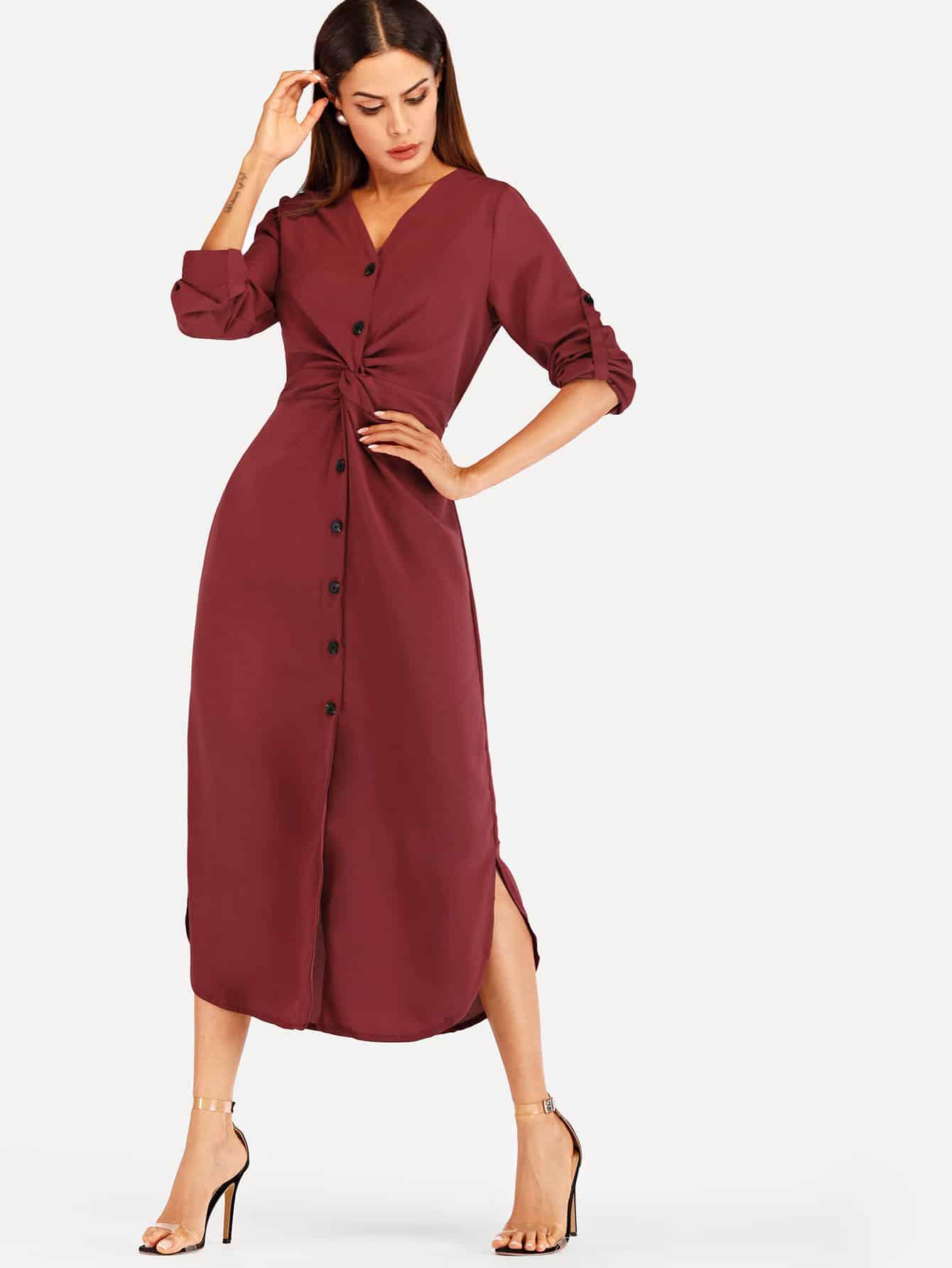 Twist Front Split Side Dress