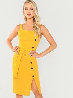 Waist Belted Button Front Split Dress