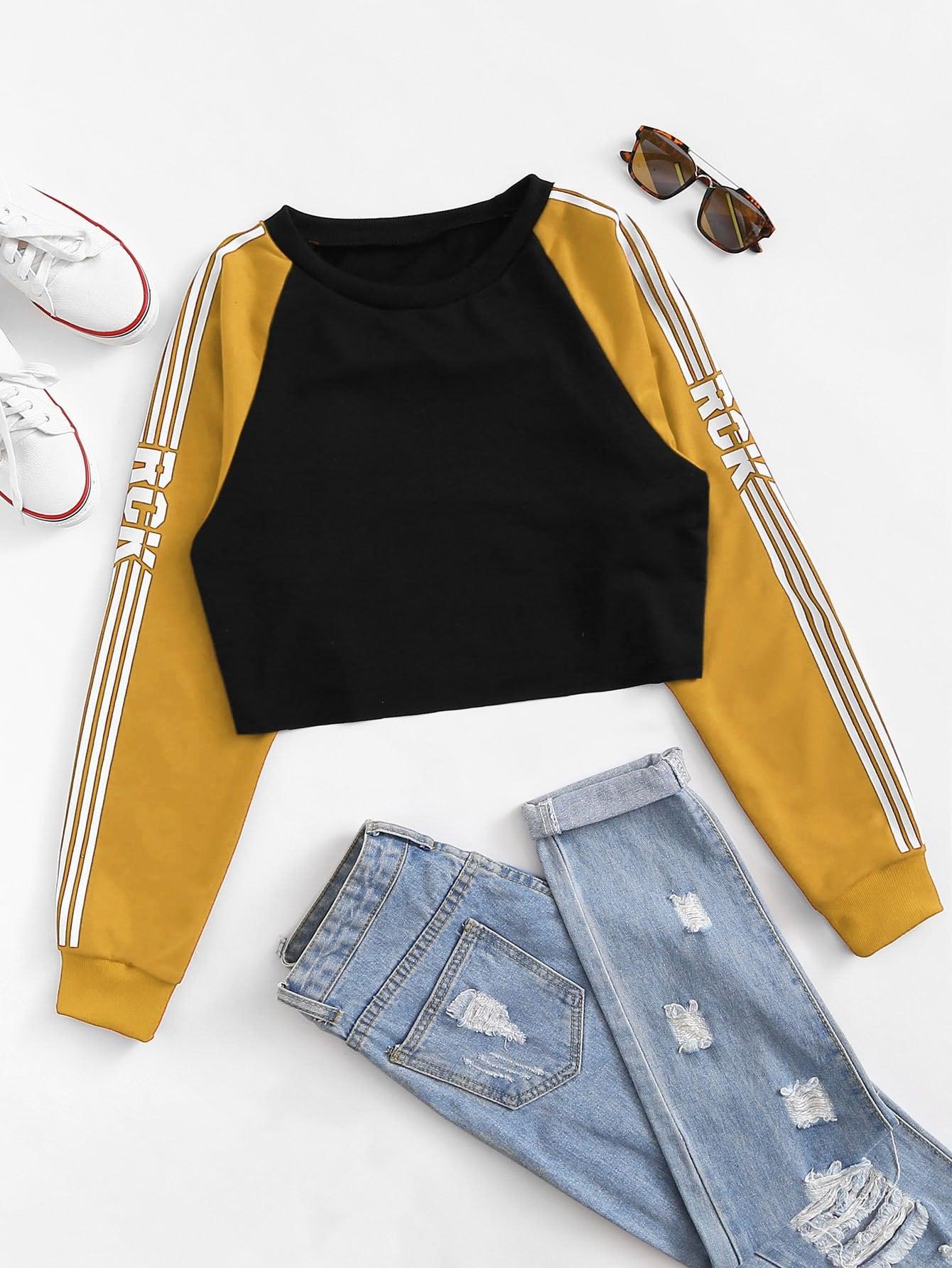 Rayures Latérales Manches Raglan Sweat-Shirt Crop