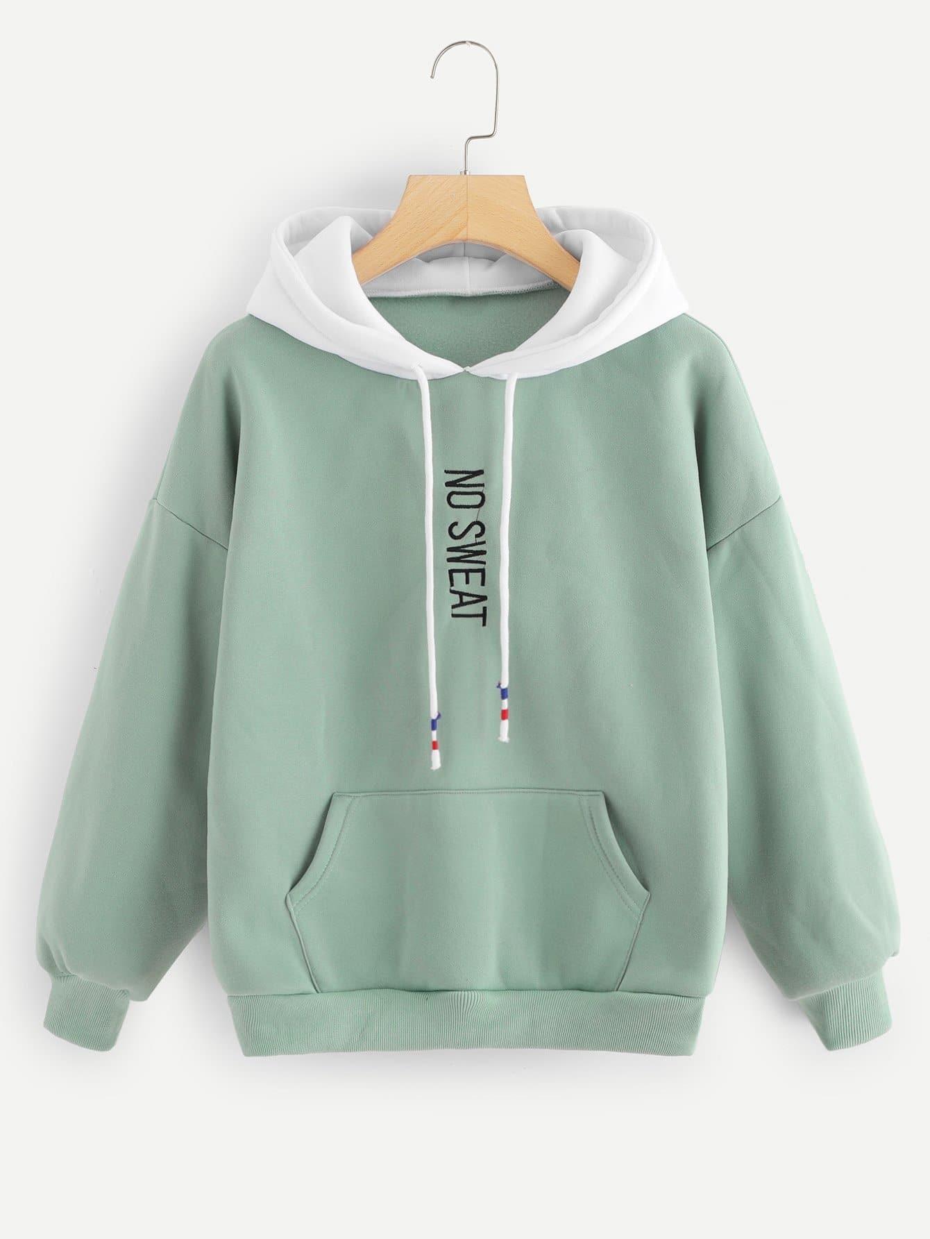 Drop Shoulder Letter Embroidered Sweatshirt