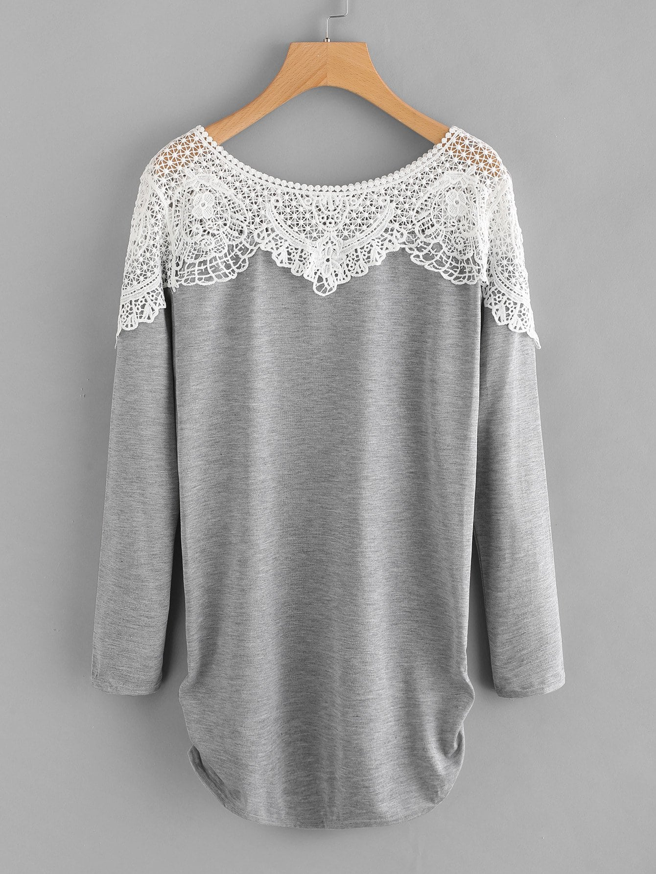 Купить Плюс размеры контрастные кружева футболка, null, SheIn