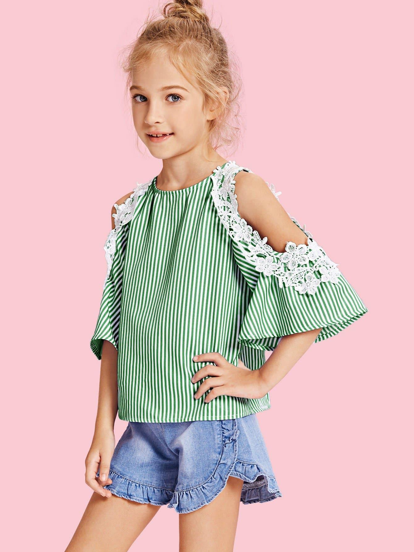 Купить Кружевная тонкая полосатая блузка с открытыми плечами для девочки, Kassia, SheIn