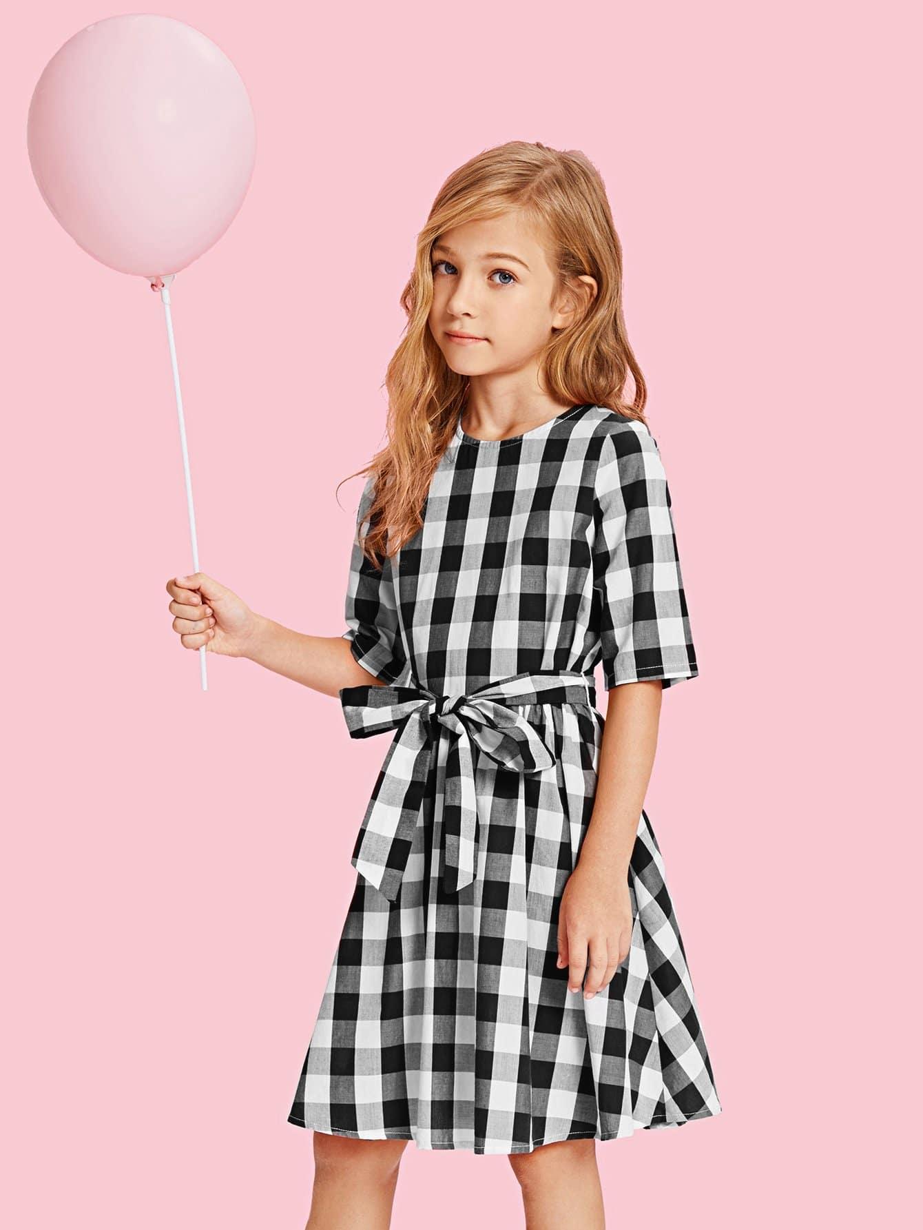 Купить Платье в клетку и с застёжкой молния сзади одежды и с поясом для девочки, Kassia, SheIn