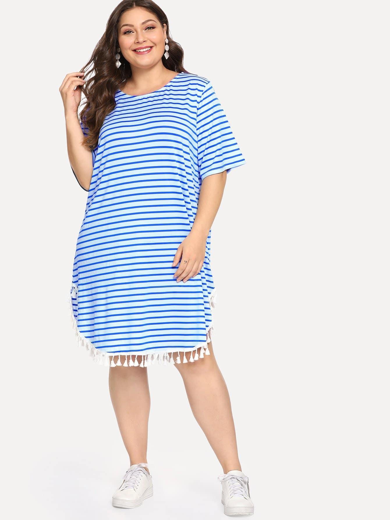 Купить Большое Полосатое Платье С Бахромами, Carol, SheIn
