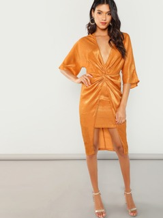 Twist Front High Low Kimono Dress