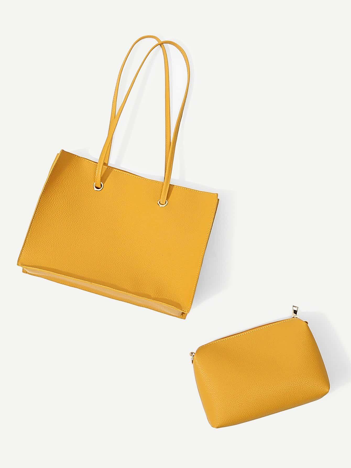 Купить Кожаная сумочка с внутренной сумкой, null, SheIn