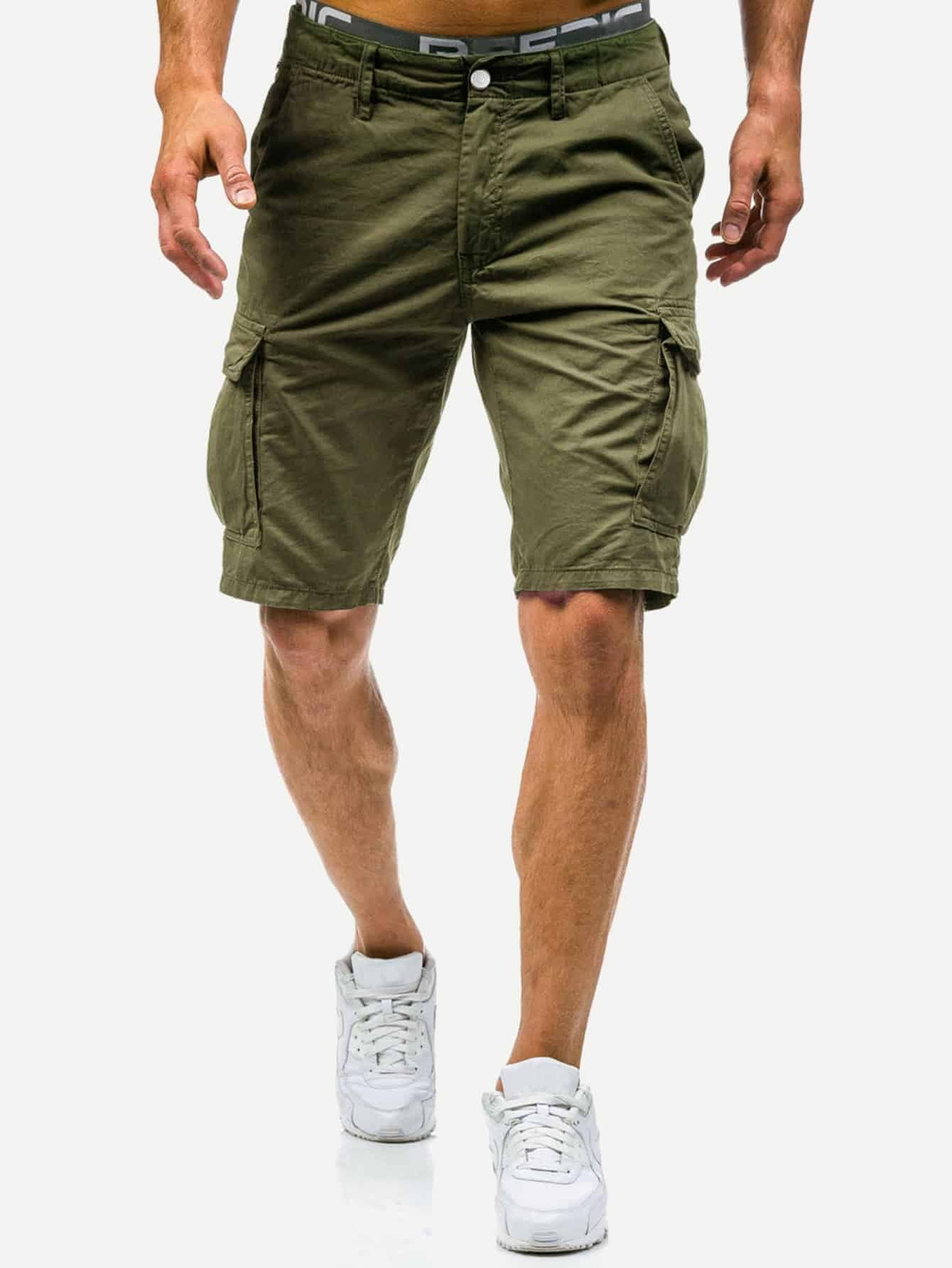 Men Pocket Decoration Plain Shorts