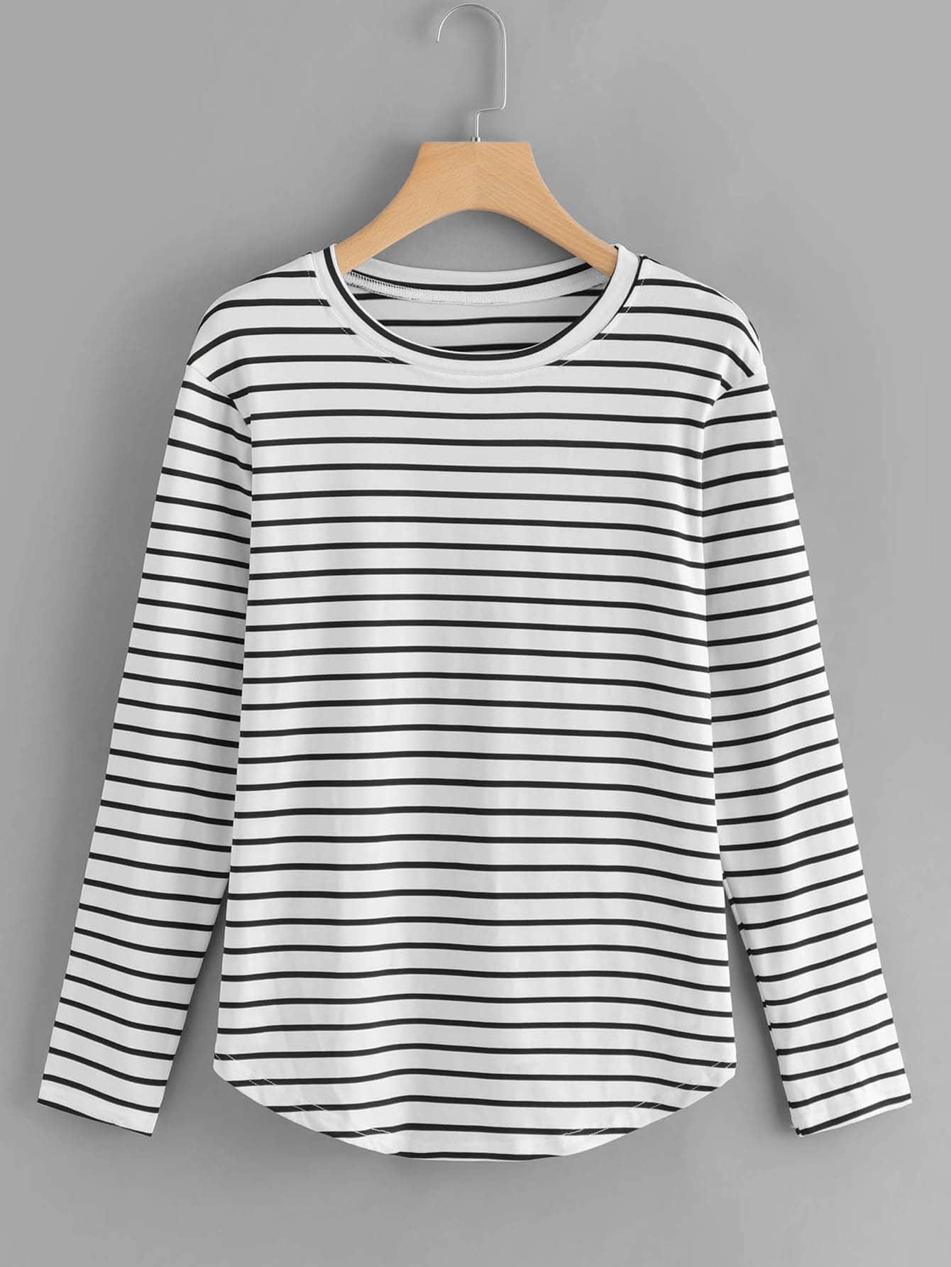 White Elbow Patch Striped T-shirt