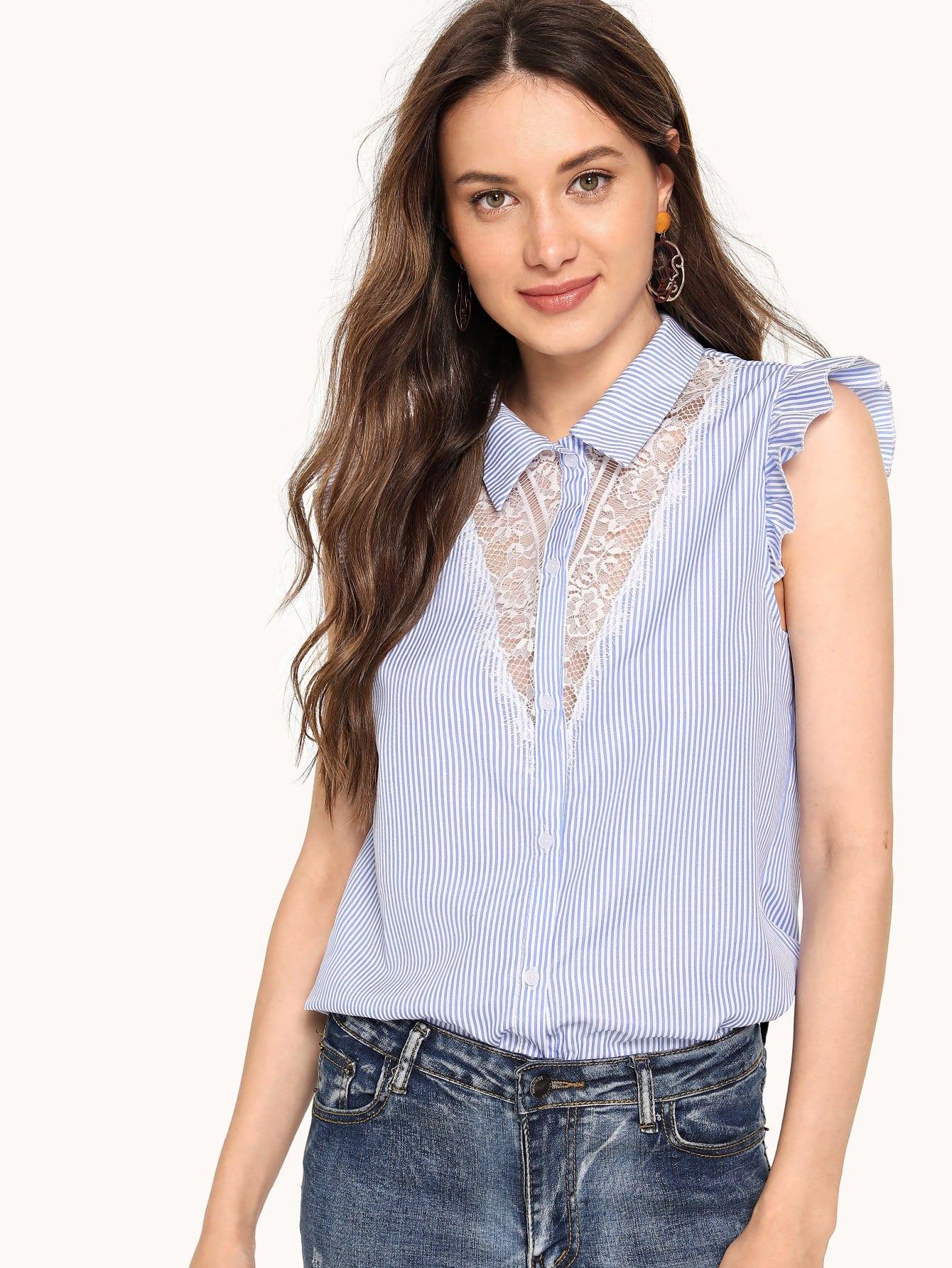 Купить Блузка с кружевами и плечо срозеткой, Masha, SheIn
