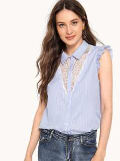 Lace Insert Ruffle Shoulder Top