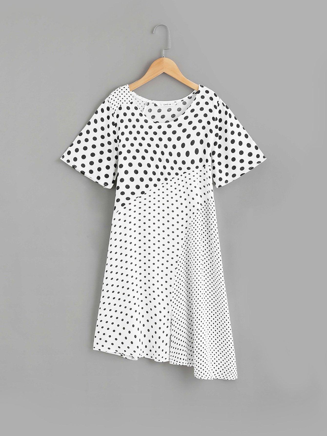 Купить Контрастное асимметричное платье с рисунками точки для девочки, null, SheIn