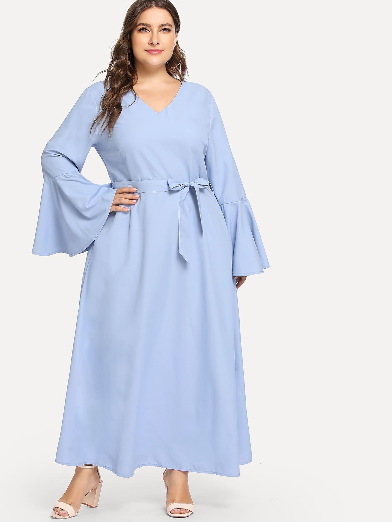 Купить Большое платье с поясом и рукав с розеткой, Franziska, SheIn