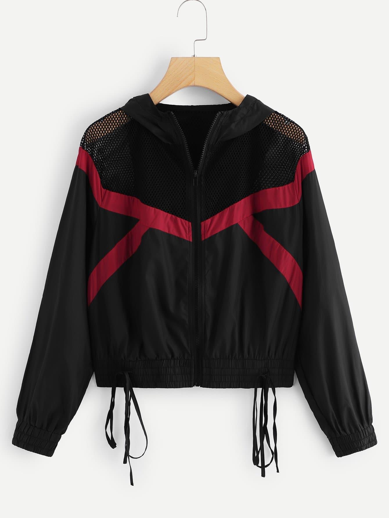 Mesh Insert Cut and Sew Knot Hem Hooded Jacket