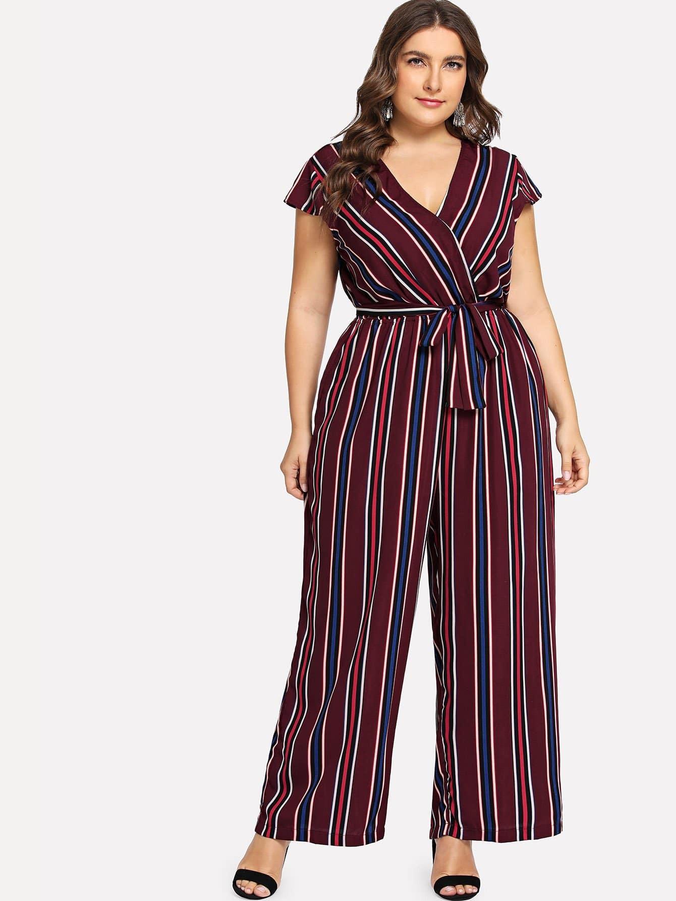 a5fc8e26581 Plus Waist Belted Wrap Wide Leg Striped Jumpsuit