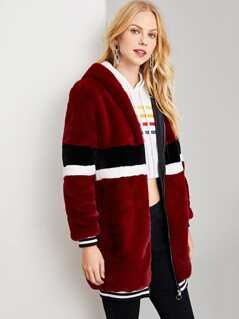 Zip Up Striped Faux Fur Coat