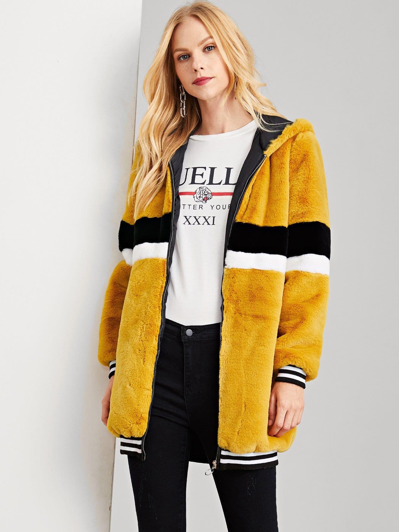 Купить ПОлосатое пальто тедди с застёжкой молния, Denisa, SheIn