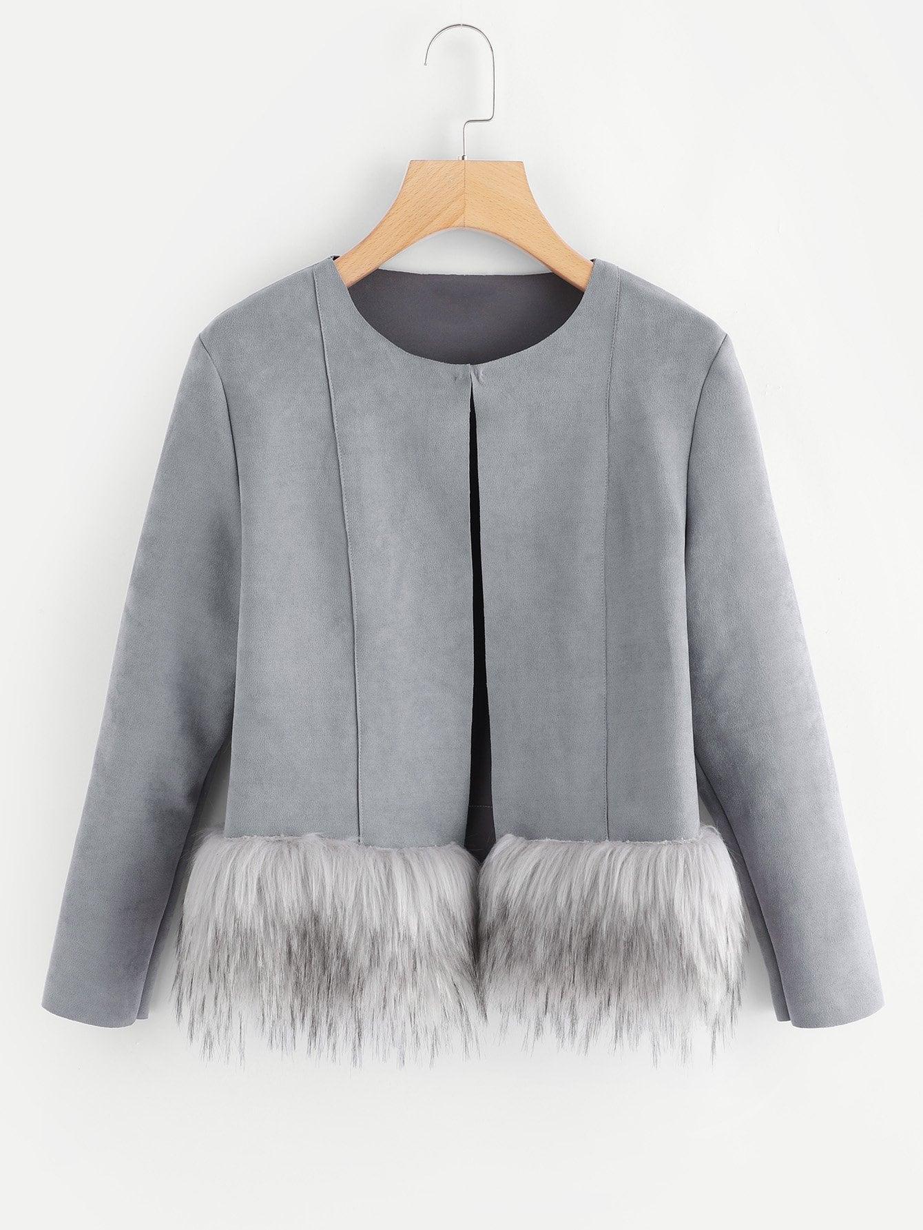 Купить Утеплённое пальто из искусственных кож, null, SheIn