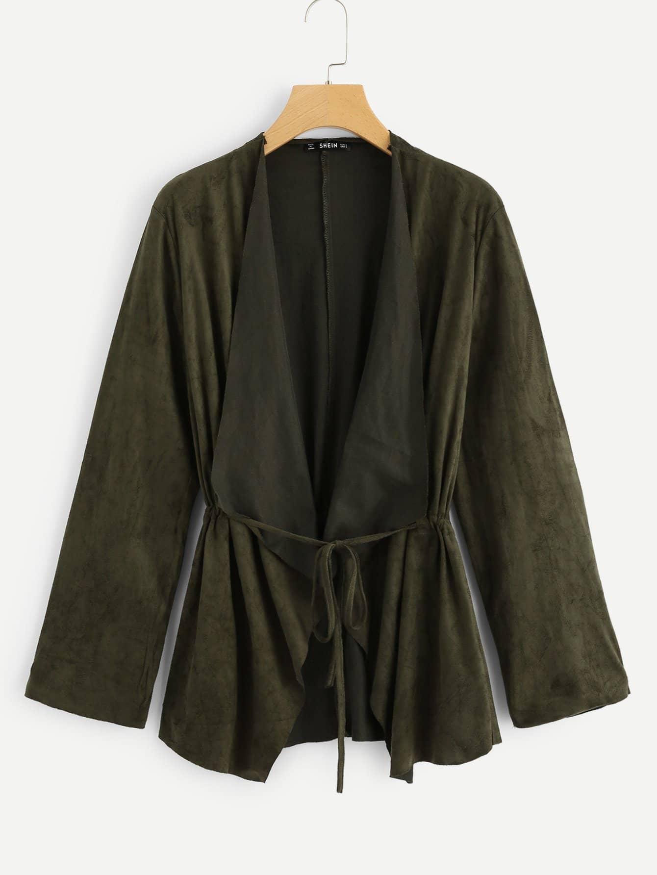Купить Твердое пальто с длинным рукавом и с v-образным вырезом, null, SheIn