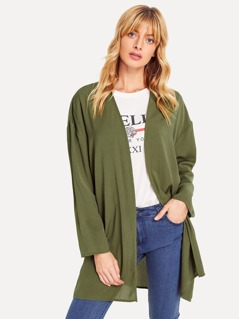 Pocket Patched Open Front Longline Coat