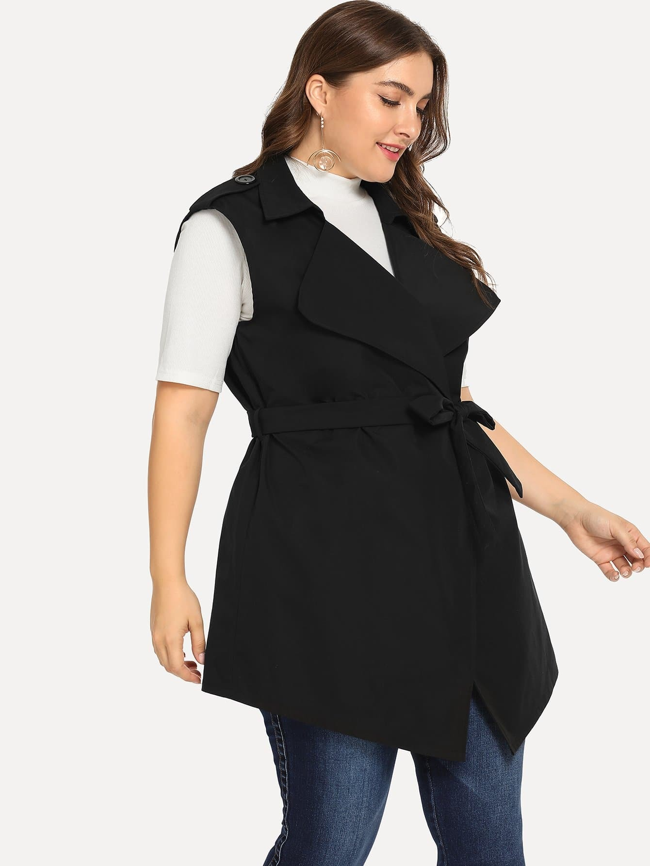 Plus Self Belted Sleeveless Coat mobil 600xp220 320 150 100 68 680 208l