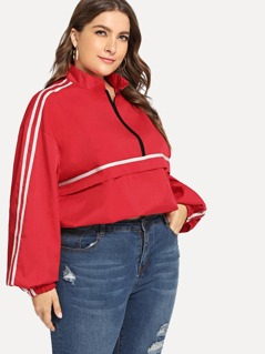 Plus Zip Half Placket Striped Sweatshirt