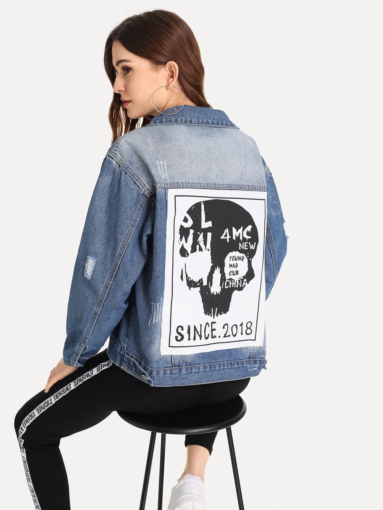 Купить Рваная джинсовая ветровка с рисунком скелета человека, Jana, SheIn