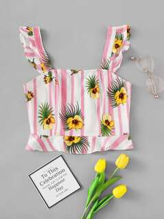 Ruffle Strap Floral & Striped Top