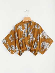 Random Floral Surplice Kimono Blouse