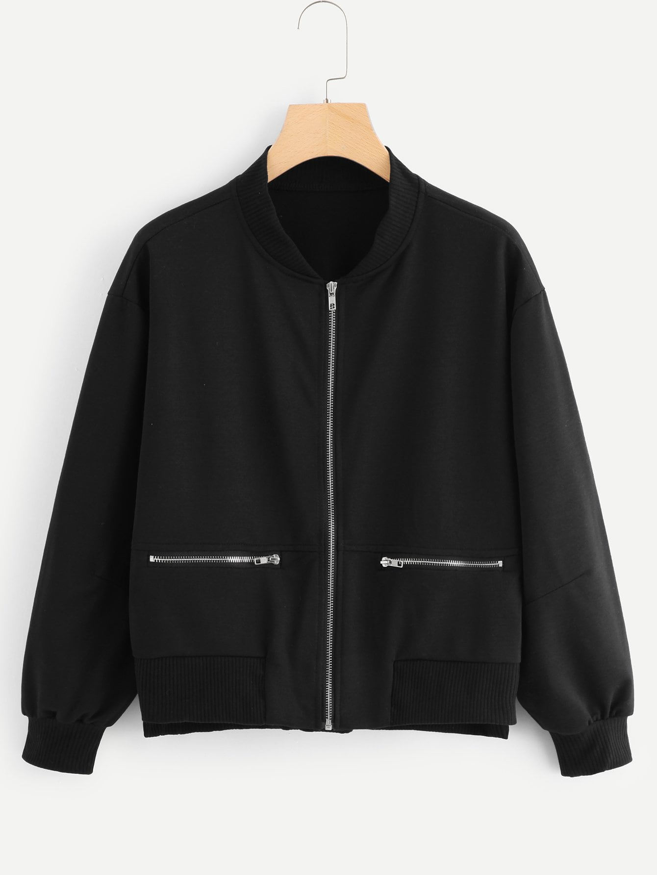 Zipper Detail Zip Up Jacket
