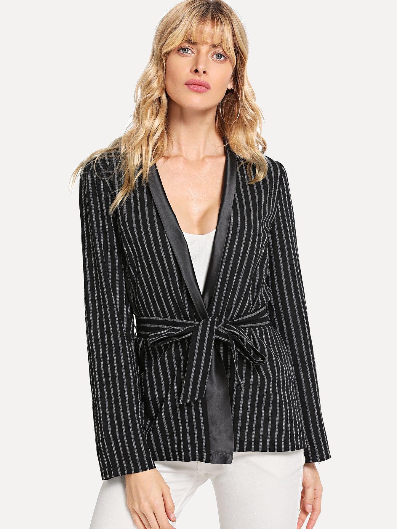 Купить Полосатая куртка с поясом, Masha, SheIn