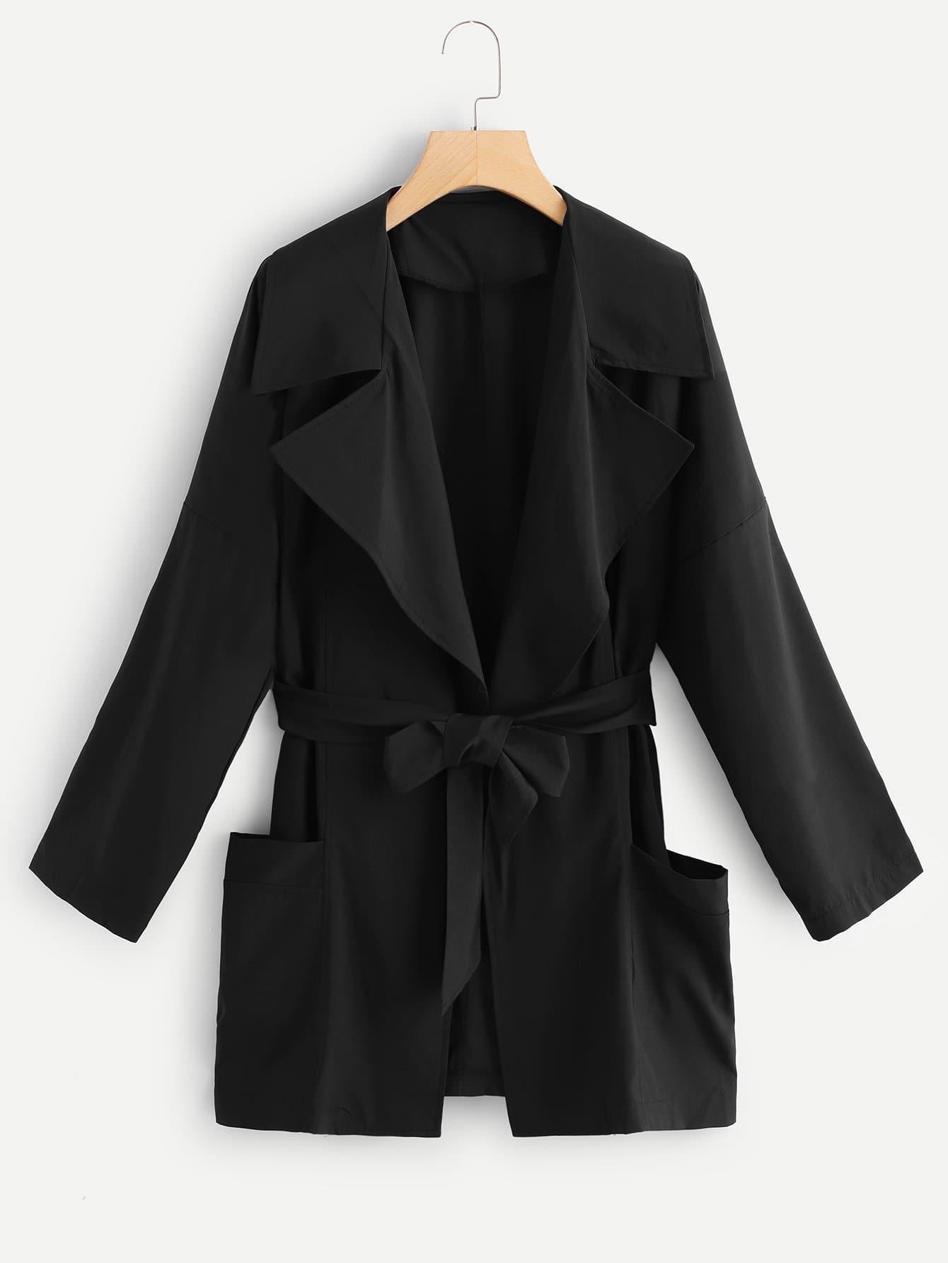 Купить Куртка с двумя кармана и поясом, null, SheIn